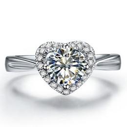 anillos en forma de corazón de oro blanco Rebajas Joyería de lujo 1Ct Forma de corazón Anillo de bodas de diamante sintético para las mujeres Anillo de plata esterlina 925 Sólido 925 Joyería chapada en oro blanco