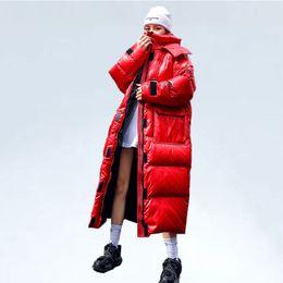 Übergroße Wintermantel Frau Lang Parka 2019 Fashion Glossy Cotton padded Parka Warm Red Coat lose mit Kapuze Wattierte Jacke Damen