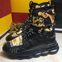 Mens High Top Reaction Sneaker 2 Chainz Sneakers Moda Donna Stivali Trainer Scarpe casual di lusso con scatola 7shy cheap mens chain boots da stivali mens catena fornitori