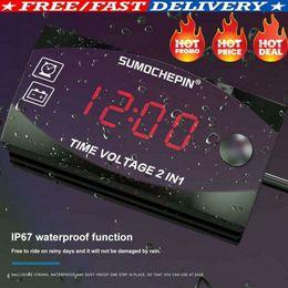 carro levou relógio tempo Desconto Digital LED Eletrônico 2em1 Voltímetro Relógio de Tempo Digital Display For12V Car Auto