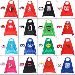 Capas de natal on-line-31 estilos de super-heróis capa dupla face e máscara 70 * 70 cm cabo dos desenhos animados com máscara para crianças natal festa de halloween cosplay cape trajes