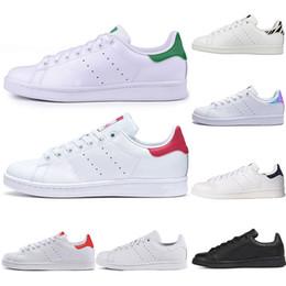 2019 marcas de calzado casual para hombres adidas Stan Smith Primavera Cobre Blanco Rosa Negro Moda Zapato Hombre Casual Cuero marca mujer hombre zapatos Pisos Zapatillas 36-44 marcas de calzado casual para hombres baratos