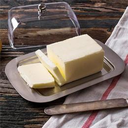 2019 recipientes de queijo Top Aço Inoxidável Caixa de Prato de Manteiga Recipiente Queijo Servidor Bandeja de armazenamento com Tampa Fácil de Acrílico Transparente bluesky1990