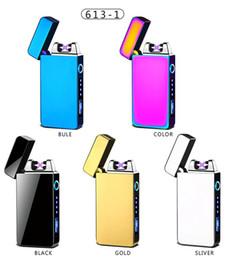 Encendedor de cigarrillos ambiental online-De carga USB Touch Sensing cigarrillo del encendedor a prueba de viento electrónico ultra-delgado alambre eléctrico de calentamiento del encendedor Protect Ambiental