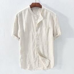 materiales de llavero al por mayor Rebajas Blusa de lino de algodón holgada para hombre Camisas retro de manga corta de color sólido Tops Blusa chemise homme camisa hawaiana 2019 chemise