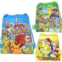 Zaini pikachu online-1PC Go Baby Shower Bomboniere per bambini Tessuto non tessuto Coulisse Mochila Regali Borse Zaino Pikachu Forniture per feste di compleanno