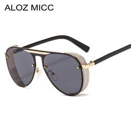 2020 grandi occhiali da sole pilota ALOZ MICC Steampunk Occhiali da sole da uomo Brand Design 2019 New Big Box Occhiali da sole da donna per uomo Moda Punk Pilot Sunglas UV400A529 grandi occhiali da sole pilota economici