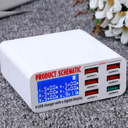 2019 портативный usb-смартфон зарядное устройство для мобильного телефона Powstro USB зарядное устройство Портативный Multi USB-порт Быстрое зарядное устройство 6-портовый USB-разъем Быстрое зарядное устройство с ЖК-дисплеем для смарт-мобильного телефона T190627 дешево портативный usb-смартфон зарядное устройство для мобильного телефона