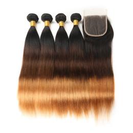 2019 tração de cabelo liso vietnamita Cor ombre T1B / 4/30 100% virgem extensões de cabelo humano longo e reto 4 feixes / 400gr com 4 * 4 lace closure cabelo humano tece 450gr