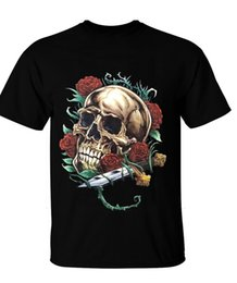 mens knifes Coupons - SKULL ENTWINED IN RED ROSES AND THORNS WITH DAGGER KNIFE TATTOO ART T-SHIRT Mens Pride Dark T-shirt Suit Hat Pink T-shirt