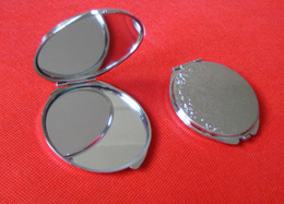 blank mirrors Promo Codes - 10pcs lot 60MM Blank CompDIY Portable Metal act Mirror cosmetic mirror Silver Portable Mirrors