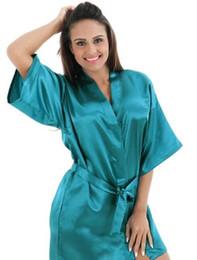 Canada Couleurs Dames Femmes Robe courte en soie de rayonne unie Pyjama Lingerie Robe de nuit Kimono Robe pjs supplier elegant silk short dresses Offre