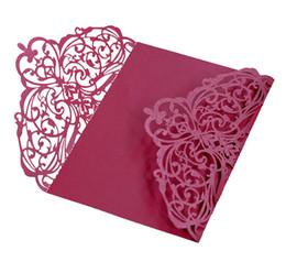 Laser geschnittene Blumen Hochzeit Einladungskarten personalisierte hohle Hochzeitsgesellschaft druckbare Einladungskarten Band mit Umschlag Karte versiegelt von Fabrikanten