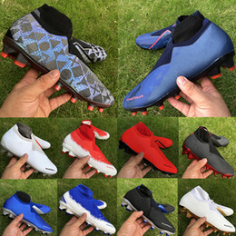 blue orange football cleats Promo Codes - 2019 luxury mens soccer shoes Phantom VSN Elite DF FG Football Boots EASPORTS PSG triple black Fully charged men designer soccer cleats