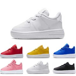 Pisos rosa para niños online-nike air force 1 2019 zapatos de diseño para niños para niñas niños rosa tirple blanco Oreo bule amarillo rojo plataforma de cuero plana tamaño de moda 22-35
