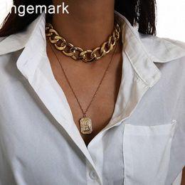 colar pingente pesado Desconto Egípcia Nefertiti Pendant Gargantilha Colar Homens Vintage Jóias Hip Hop antiga rainha Coin pesado Grosso Bloqueio Cadeia Colar Mulheres