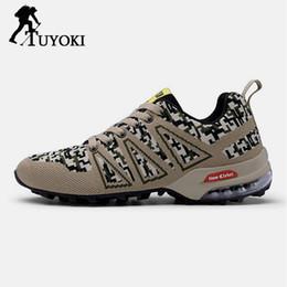 Плюс размер клубной обуви онлайн-Tuyoki Plus Size 39-47 Hiking Shoes Men Climbing Club Sports Lace Up Casual  Knitting Trekking Shoes For Men Sneakers Outdoor