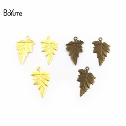 wholesale brass stamping Promo Codes - BoYuTe 100Pcs 5 Colors 23*14MM Metal Brass Stamping Leaf Charm Pendants DIY Material Leaf Charms for Jewelry Making