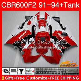 honda cbr f2 red fairings Coupons - Body +Tank For HONDA CBR 600F2 CBR600FS CBR 600 FS F2 91 92 93 94 40HC.7 600CC CBR600 F2 CBR600F2 1991 1992 1993 1994 Fairing red white hot