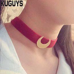 Gargantilla luna marinero online-Collar de cadena de cuerda roja de KUGUYS Trendy Gril's Jewelry para mujer Collar de gargantillas Sailor Moon