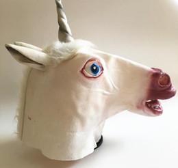 espeluznante máscara de unicornio Rebajas Máscara de unicornio 3D Unicornio Caballo Máscara de látex fiesta de disfraces Cosplay Prop caucho cabeza espeluznante cabeza completa máscara