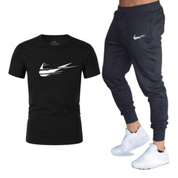 trousers red black men Promo Codes - Summer Hot Sale Men's Sets T Shirts+pants Two Pieces Sets Casual Tracksuit Male 2019 Casual Tshirt Gyms Fitness trousers men