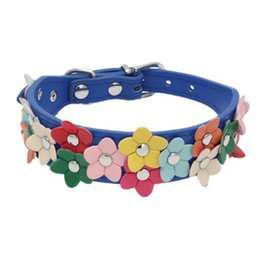 leather flowering dog collar Coupons - Cute Floral Dog Fashion Collars Leather Dog Cat Basic Collars Adjustable Puppy Kitten Flowers Necklace Pet Accessories Product