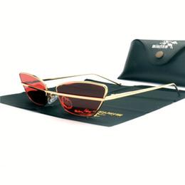Rechteckige rahmenlose sonnenbrille online-2018 kleine cat sonnenbrille frauen mode metall dreieck rahmenlose rechteck sonnenbrille markendesigner retro sunglass uv400 fml