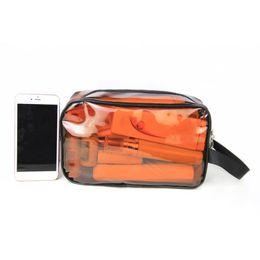 Косметический бизнес онлайн-Cosmetic Bag Portable Waterproof Travel Case Transparent PVC Business Zipper Closure Toiletry Organizer Eco-friendly Bathroom