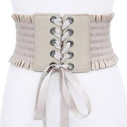 gefesseltes leder Rabatt Womens Vintage breite elastische Schnürung Gürtel Cinch Tie verstellbare Leder Cinch Korsett Bund Kummerbund schwarz