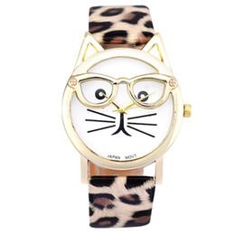 Relógios a quartzo on-line-Novo Design Senhoras relógios Montre femme Bonito Óculos Gato Analógico Quartz Dial Relógio De Pulso Das Mulheres Se Vestem Relógios Relogio feminino 123