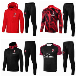 milan ac survêtement  Promotion Survetement Survêtements 2017 2018 2019 2020 Football AC Définit IBRAHIMOVIC PIATEK Calhanoglu ensemble veste Milan football survêtement Sweats à capuche