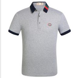 buenas camisas de negocios casual Rebajas Venta caliente del negocio de la camisa de polo más 5 colores delgado de manga corta polo buena calidad polo camisa de hombre tamaño 3XL MTP465