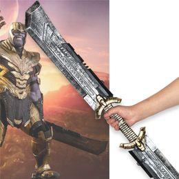 levou fibra óptica luz branca Desconto Endgame Thanos Espada de Dois Gumes Cosplay Armadura Superhero Thanos Máscara de Látex Máscara Capa de Halloween Festa Adereços