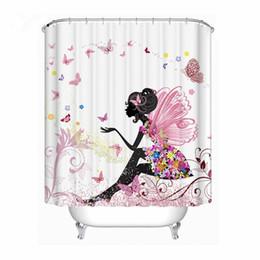À la mode Fleur Rose Fée Fille Papillon Rideau De Douche Tissu En Polyester Étanche À La Résistance À La Moisissure Rideau Salle De Bains ? partir de fabricateur