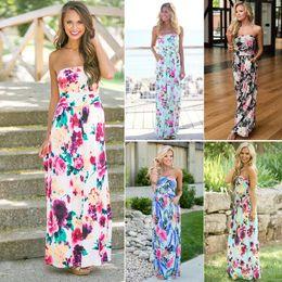 Vestido de praia strapless para mulheres on-line-Mulheres vestido sem alças floral 6 cores Verão Maxi Boho Impresso mangas Long Beach Party Dress nova OOA6483