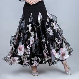 2019 dança flamenca trajes mulheres saia de salão mulheres dança de salão saias flamenco dança tops padrão saia espanhola traje de flamenco valsa desgaste impressão dança flamenca trajes mulheres barato