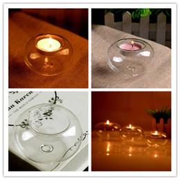 Colgante de vela transparente online-Sostenedor de vela de la planta del aire del terrario de cristal redondo del globo de la ejecución, claro