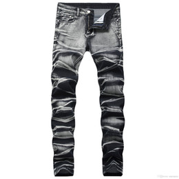 motorcycle goods Promo Codes - 2019 Mens Distressed Ripped Biker Jeans Slim Fit Motorcycle Biker Denim For Men Fashion Designer Hip Hop Mens Jeans Good Quality