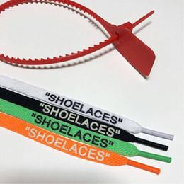 Tag bianchi online-Lacci delle scarpe OFF Bianco Nero Verde Rosso merletti di pattino fascetta Tag Parte Accessori 1M Con Rosso Zip Tag White Shoes