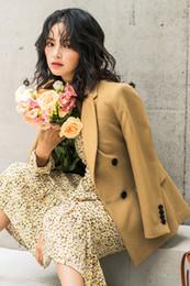 Peito feminino japonês on-line-O novo outono roupa 2,019 japonesa textura amarelo trespassado contratada suburbano coringa temperamento feminino paletó