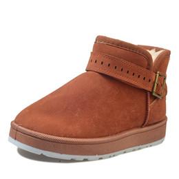 botas negras planas del tobillo del negro de las señoras Rebajas Botas de nieve Mujer Botas de invierno Plataforma de felpa cálida para mujer Zapatos de piel Mujer Gamuza Goma plana Hebilla de tobillo negra Mujer