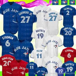 Бейсбол трикотажные изделия торонто онлайн-Блю Джейс 27 Владимир Герреро-младший Джерси Торонто Блю Джей 11 Кевин Пиллар 6 Маркус Строман 19 Бейсбольные майки Баутиста