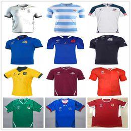 Italien weg jersey online-2019 Weltmeisterschaft Rugby-Trikots Fidschi Tonga Samoa Georgia Schottland Australien Wales Italien Französisch Japan Argentinien Home Away Shirt Größe S-3XL