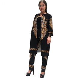 42cad31b84aa 2019 New African Stampa Bazin Elastico Pantaloni Larghi Rock Style Dashiki  SLeeve Famoso Vestito Per Lady   donne cappotto e leggings 2 pz   se sconti  rock ...