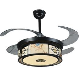 Lustre remoto on-line-Novo Chinês Fan Light 42 Lustres de Ventilador de Teto 36 W Luzes de Escurecimento Controle Remoto Invisível LEVOU Dobrável Ventilador de Teto Da Lâmpada Sala de Jantar