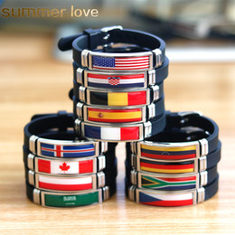 fitness christmas gifts Promo Codes - National Flag Silicone Bracelets Spain Germany England Australia Brazil Wristband Men Bracelets Fitness Sporty Jewelry Size Adjustable