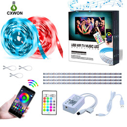Música potente online-TV LED de luz de fondo de Gaza SMD5050 RGB LED tira Música WIFI 5V 1M 2M 0.5M * 4 30LEDs / M USB Power Strip