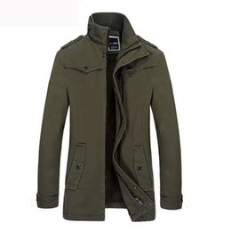 Мужская куртка бархатного воротника xl онлайн-Winter Coat Men Casual Thick Plus velvet Warm Jacket Mens Cotton Stand collar Windbreaker Jackets Outwear Coat For Men