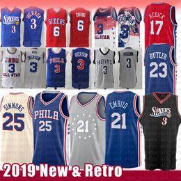 e502d2867a21 Maglia NCAA Retro Philadelphia Joel 21 Maglia Allen Iverson Embiid Allen 3  Ben 25 Simmons Jimmy 23 Butler 20 Fultz J.J. 17 Redick 6 Erving